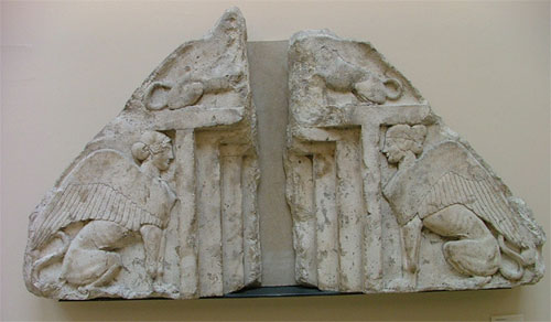 Lycian sarcophagus lid carving, from Xanthos